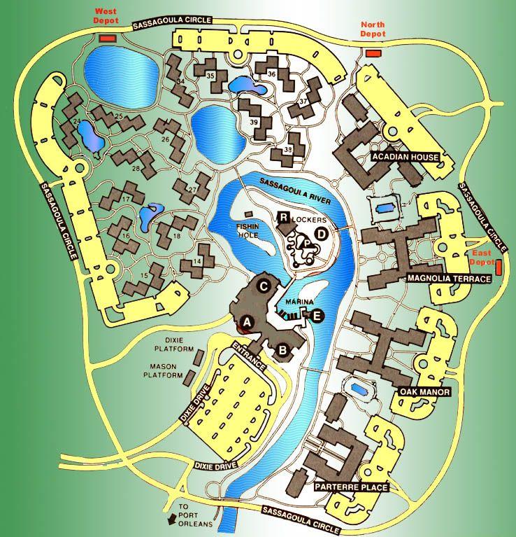 Disney's Port Orleans Riverside Resort Map on